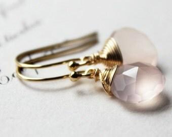 juliet capulet. earrings. (soft rose pink chalcedony. teardrop gemstone. 14k gold. jewelry. made to order)