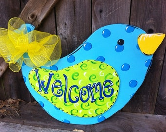 Wooden Bird Door Hanger Hand Painted