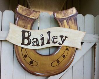 Horseshoe Cowboy Western Wooden Door Hanger