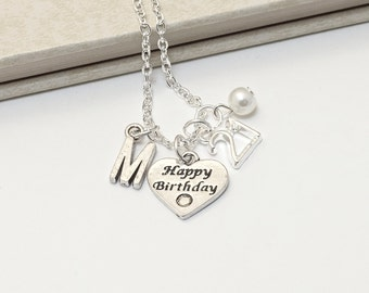 Personalized 21 Birthday Necklace with Your Initial and Birthstone