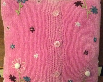 Pink Chenile Sweater Pillow