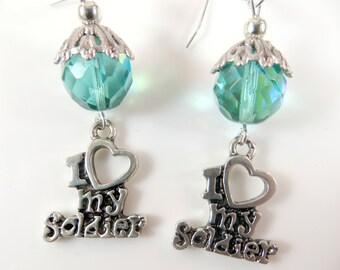 I love my soldier earrings