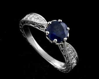 Vintage Reproduction Ring, 6mm Blue Sapphire Diamond Ring, Engraved Six Prong Engagement Ring, Pave Set Diamond Ring, Antique 14K Gold Ring