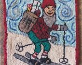 Skiing Christmas elf Hooked rug