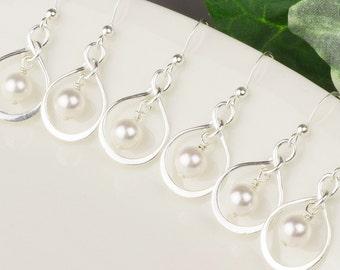 White Pearl Earrings SET OF 5 - Pearl Bridesmaid Earrings 10% OFF - Swarovski Pearl Drop Earrings -  Sterling Silver Pearl Infinity Earrings