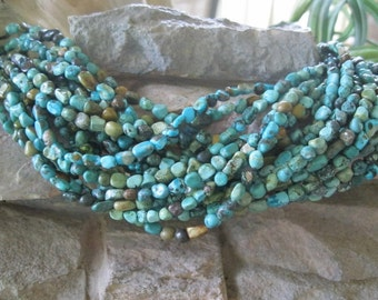 Natural Turquoise Nugget Beads Blues Greens 5-6 mm small 15.5""