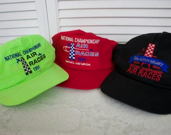 Vintage Lot of 3 Hats National Championship Air Races Reno Nevada Hat