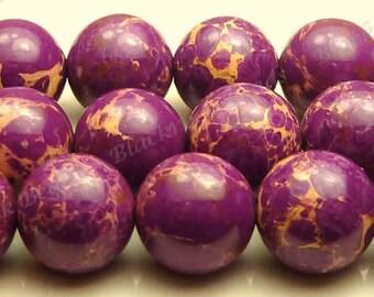 8mm Red Violet Aqua Terra Jasper Round Gemstone Beads - 15.5 Inch Strand - Purple Violet - BH18