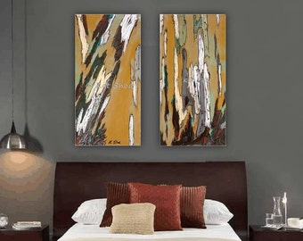 Diptych artwork canvas print Very large wall art set tree art modern abstract landscape office bedroom living dining room wholesaledecor