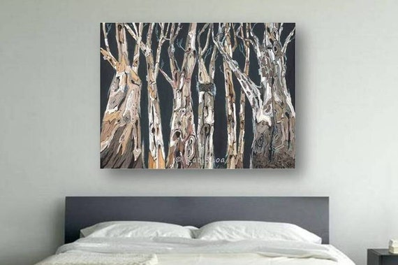 Very large wall art oversized extra large canvas by for Tree trunk wall art