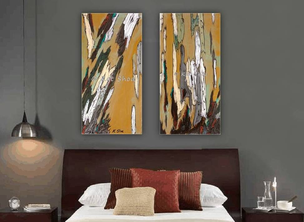 Diptych artwork canvas print very large wall art set tree art for Large paintings for dining room