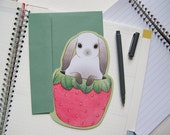 Birthday Card - Bunny in a Strawberry Cup