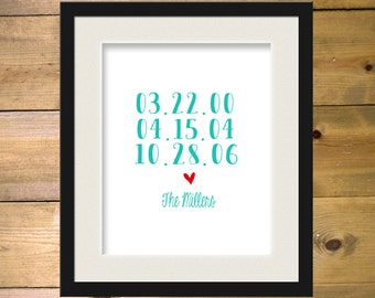 Personalized Family Couple Dates Art Print with Heart 8x10 Custom Color and Dates