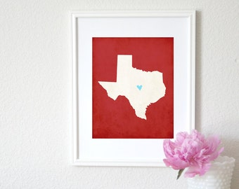 Texas State Art Silhouette Map Personalized Print