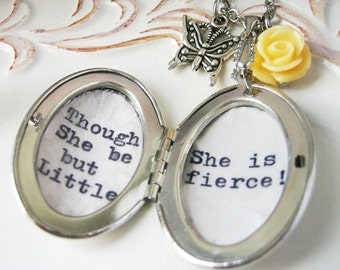 inspirational locket necklace with quote though she be but little she is fierce shakespare fierce jewelry necklace for women motivational