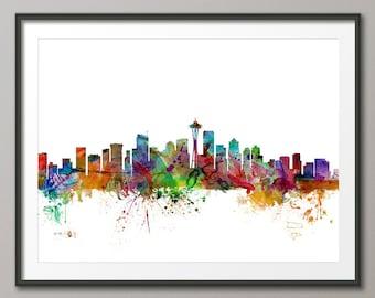 Seattle Skyline, Seattle Washington Cityscape Art Print (1203)