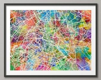 Paris France City Street Map, Art Print (1305)