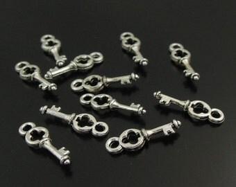 16 Key Charms Antiqued Silver Tone Metal 13 x 4 mm -  ts374