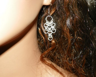 Sterling Silver Cable Chainmaille Earrings