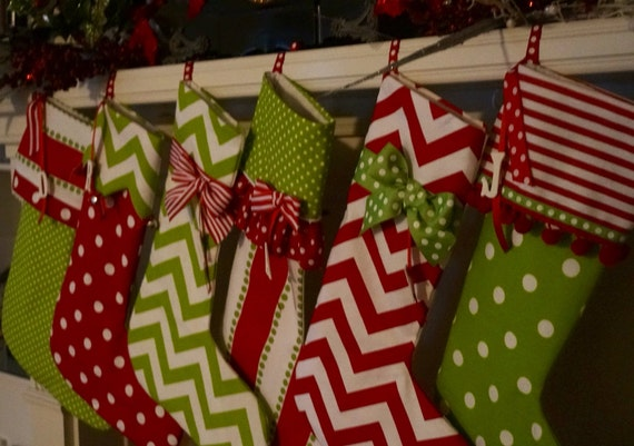 6 Christmas stockings personalized in bright red and green cotton