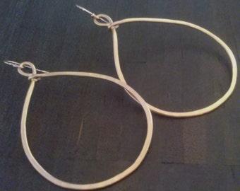 HAMMERED  brushed   GOLD  HOOP   earrings