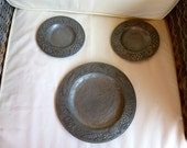 Rare French Pewter Bread and Grape Table Platters