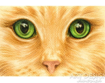 Original Cat Pastel Drawing, Cat Eyes Closeup, 6 x 4 Inches, SFA Small Format Art, Green Eyed Gold Cat, Not a Print, Cat Painting, ADA-OA374