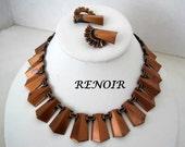 Renoir Necklace Earrings Mid Century Copper