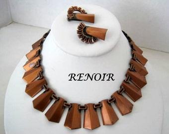 Renoir Necklace Earrings - Copper Renoir - Mid Century Copper Set