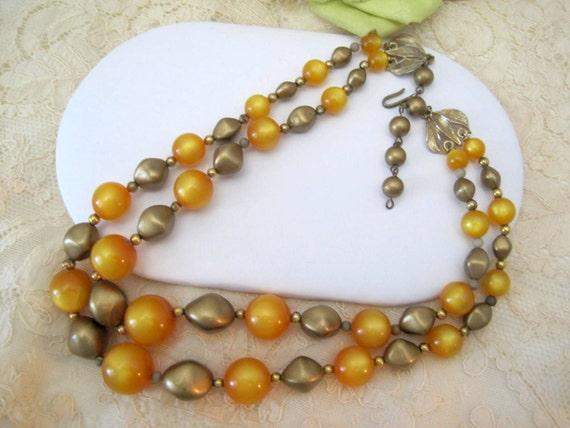 Orange Moonglow Beads - 2 Strand Necklace - Retro 60's Beads