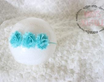 Mini Aqua Flower Headband/ Shabby Flower Headband/ Newborn Headband/ Baby Headband/ Flower Girl/ Wedding/ Photo Prop
