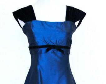 80's Vintage Prom Dress, Gunne Sax Dress, Blue Satin Prom Dress, Short Prom Dress