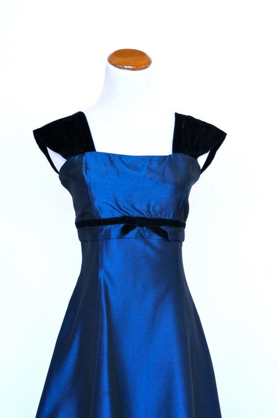 Prom dress gunne sax dress blue satin prom dress short prom dress