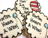 Dr. Seuss Theme Sugar Cookies Iced Decorated Cat In The Hat Birthday Shower Favor Horton Hears A Who Party Favor