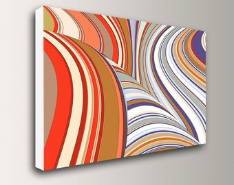 "Mid Century Art - Retro - Stripes - Canvas Print - Red, Purple, White - Abstract Art - Large Wall Art - "" Swivel """