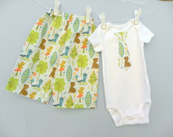 Baby Boy Set,  Woodland Animal Baby Layette, Forest Animals Baby gift, baby shirt with tie, boys diaper shirt