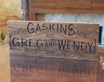 Family Established Sign, 5 Year Anniversary Gift, Wedding Date Sign, Wedding Anniversary Gift, Benchmark Signs Walnut SB