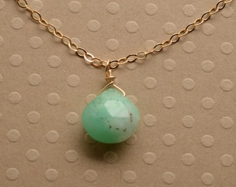 Green Chrysoprase Necklace, May Birthstone Necklace, Healing Gemstone Jewelry, Gemstone Gold Chain Necklace