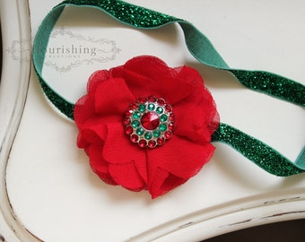 Red Christmas Chiffon flower headband, baby headbands, newborn headbands, red headbands,  christmas headbands, photography prop