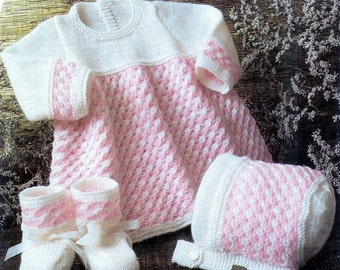 Baby 4ply and DK 8ply Dress Bonnet and Bootees  14 - 18 ins - Brone 719 - pdf of Vintage Knitting Patterns
