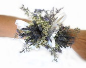 Organically French Blue Dried Lavender Wrist Wedding Corsage