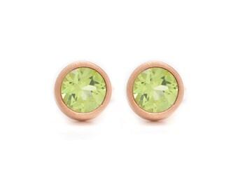 Peridot Stud Earrings - Gemstone POP Stud Earrings - Rose Gold Studs - Peridot in Rose Gold - 18k Rose Gold Vermeil - Studs