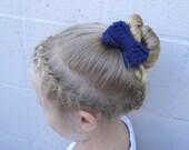 Small Navy Crochet Bow Hair Band, Ponytail Holder, Hair Elastic, Handmade Crocheted, Girls, Teens, Womens Knit Accessory Bun Wrap