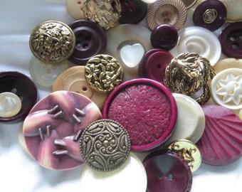 Golden Garnets Vintage Button Collection - 40 unique buttons lot 7