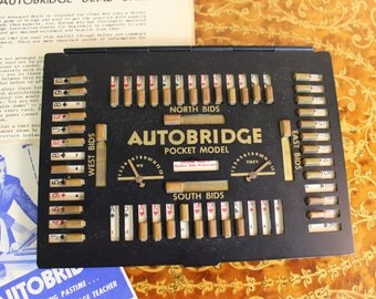 AUTOBRIDGE Antique Pocket Bridge Game- Solitaire game for one person- Travel Size- 1940's Game