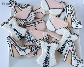 16 Bridal Shower Decorated Cookies, Boudoir cookies, High Heel Shoe Cookies,  Lingerie Cookies, Bachelorette Cookies, Louboutin Cookies
