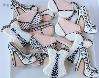 16 Bridal Shower Decorated Cookies, Boudoir cookies, High Heel Shoe Cookies, Lingerie Cookies, Bachelorette Cookies, Louboutin Cookies