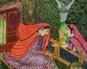 Northwest Indian art India painting India art Women painting Folk art Miniature Painting Rajasthan