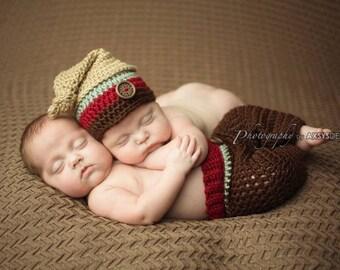 Newborn Knot Top Hat & Pants - Striped Hat - Baby Boy-Photo Prop