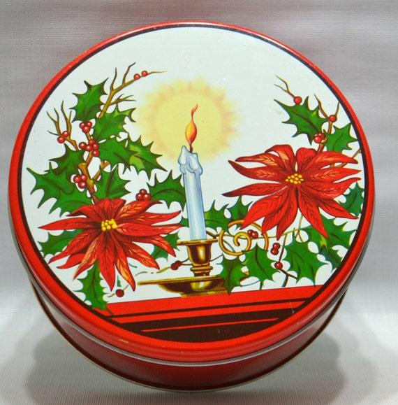 Vintage christmas fruitcake tin holiday decor metal red for Decorating tins for christmas